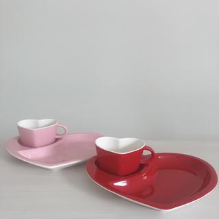 Francfranc - Francfranc Viv ハートペアプレートとマグセット赤&ピンク
