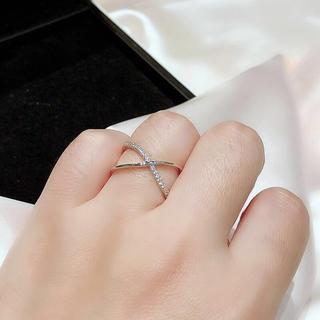 2連シンプルなオープンリング CZダイヤ 可愛い オシャレ シルバー(リング(指輪))