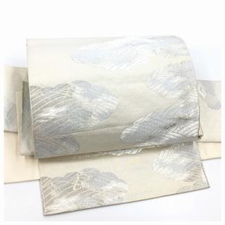 付け帯 シルバー 雲海模様 正絹 袋 二重太鼓 作り帯 二部式 中古品