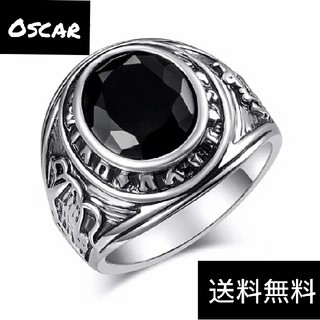 高品質 ライン ブラックストーン カレッジ リング メンズ ヴィンテージ シルバ(リング(指輪))