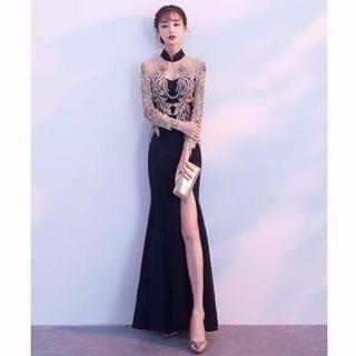 高品质 イブニングドレス スリット 優雅なシルエット パーティドレス