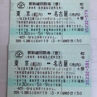 新幹線回数券◎東京↔︎名古屋2枚(鉄道乗車券)