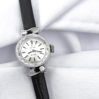 OMEGA - 【仕上済】オメガ カットガラス K14WG 2Pダイヤ レディース 腕時計