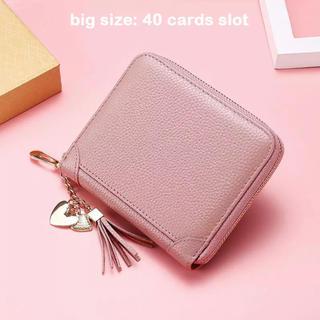 ザラ(ZARA)の本革 カードケース大容量 ベージュピンク(財布)