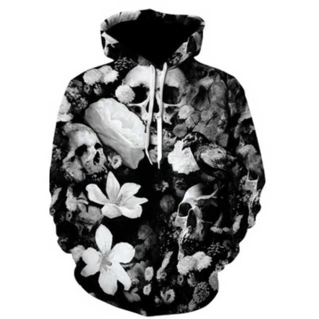 男女OK 『モノクロデザイン★ドクロパーカー』 メンズのトップス(パーカー)の商品写真