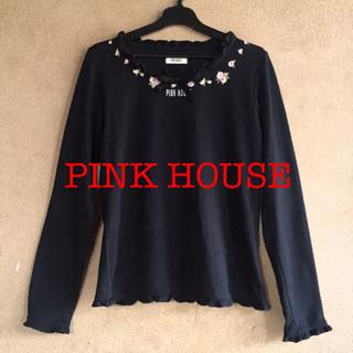 PINK HOUSE - 美品 PINK HOUSE ストレッチ コットン カットソー ブラック Mサイズ