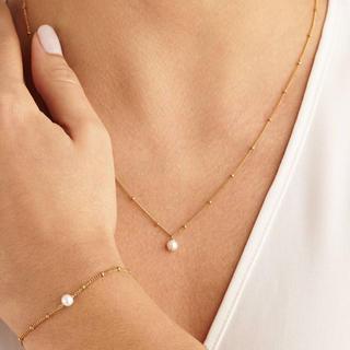 ete - 2点セット✳︎淡水真珠ネックレス+ブレスレット(ゴールド1/20 14k)