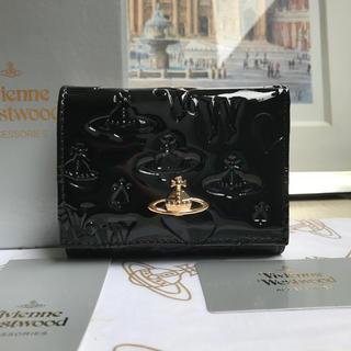 Vivienne Westwood - Vivienne Westwood 上質エナメル三つ折りがま口財布BIACK