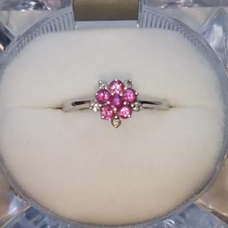 K18WG ピンクサファイアダイヤモンドリング(リング(指輪))