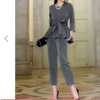 スーツ セットアップ パンツスーツ トップス ペプラム カットソー  ブラウス