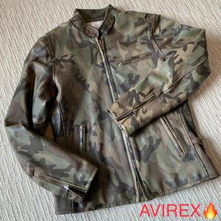 AVIREX - 【AVIREX】レザージャケット ライダース カモフラ