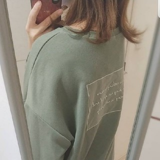 Ungrid - blate エクリュ バックロゴ バクプリ カットソー ロゴ くすみグリーン