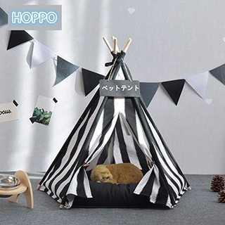 SHOPPO 犬 猫 天然素材の布テント ストライプ柄 ハウス 小屋 ベッド テ