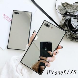 大人気!iPhoneX iPhoneXS スクエア型 ケース カバー ミラー