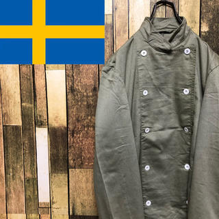 【デッドストック】スウェーデン軍☆後染め加工コックシャツジャケット 90s