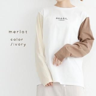 merlot - 春の新作*merlot ユニークな刺繍ロンT 競輪