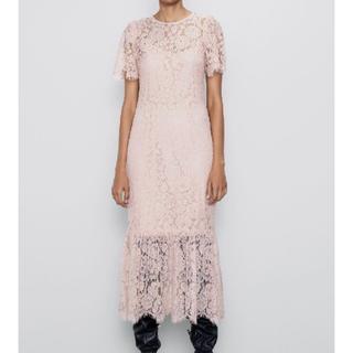 ザラ(ZARA)の【新品タグ付き】ZARA ザラ ピンク ロングドレス パーティードレス Sサイズ(ロングドレス)
