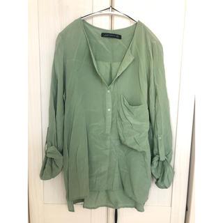 ZARA - ZARA WOMAN シルクシャツ ピスタチオカラー Lサイズ 美品