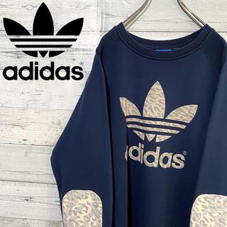 adidas - 【レア】アディダスオリジナルス☆ビッグロゴ エルボーパッチ 総柄 スウェット
