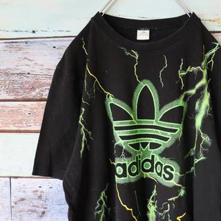 adidas - アディダス 90s 定番 トレフォイルロゴ 稲妻柄 Tシャツ M