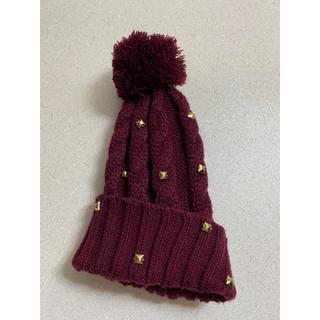ジーユー(GU)のボルドーニット帽(ニット帽/ビーニー)
