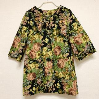 ラグナムーン(LagunaMoon)の花柄ヴィンテージノーカラー7部袖コート(その他)