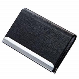 名刺入れ PU レザー ステンレス カードケース ホルダー ブラック 収納(名刺入れ/定期入れ)