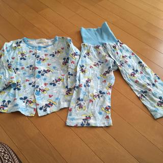 ディズニー(Disney)のミッキー柄水色 パジャマ薄手 95 記名あります。(パジャマ)