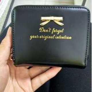 リボン 可愛い 小銭入れ カードケース ポケット 財布 ウォレット ブラック(財布)