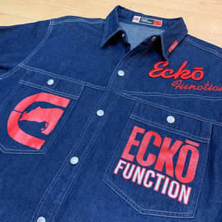 エコーアンリミテッド(ECKO UNLTD)のECKO FUNCTION エコー LOGO デニムシャツ M 送料込 ロゴ(シャツ)