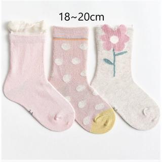 ピンクフラワー(18~20cm) 3足組 PKF01-XL 子供靴下キッズ