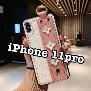 iPhone11 ケース モノグラム 高級レザー 花柄 スタッズ