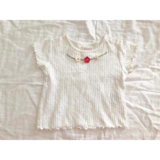 petit main - 花柄モチーフ フリル 半袖 Tシャツ