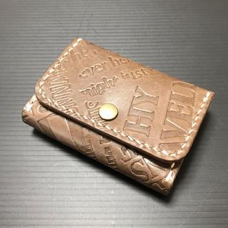 英字型押し革 手縫いのカードケース(キーケース/名刺入れ)