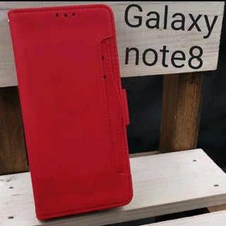 Galaxynote8手帳型高級レザーカードケース装着レッド赤scv37(Androidケース)