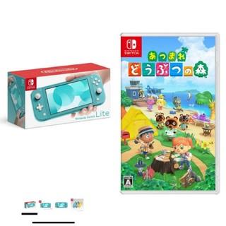 ニンテンドースイッチ(Nintendo Switch)の【値下げ不可】ニンテンドースイッチ ライト ターコイズ どうぶつの森 ソフト(家庭用ゲーム機本体)