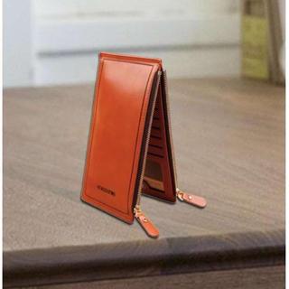 PU レザー カードケース ダブルファスナー オレンジ(長財布)