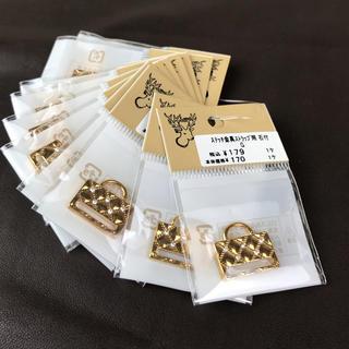 キワセイサクジョ(貴和製作所)のビーズステッチ金具ストラップ用 石付 ゴールド10個(各種パーツ)