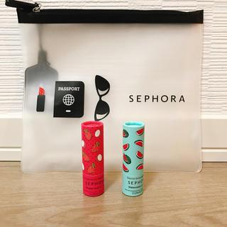 セフォラ(Sephora)の【新品・未使用】SEPHORA リップ2本・ポーチ(リップケア/リップクリーム)
