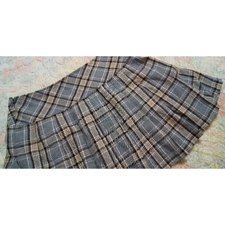 グレー チェック スカート 制服 ミニスカート プリーツスカート