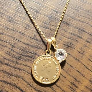 ゴールドコインネックレス シャネルストーン付き ゴールドネックレス コイン