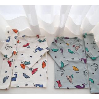 ✳︎韓国ベビー服・子供服✳︎ 恐竜パジャマ(ホワイト)(パジャマ)