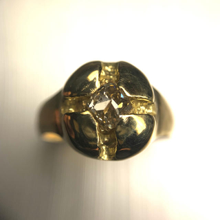 「天然ダイヤモンド原石 カット面付き」18金リング(リング(指輪))