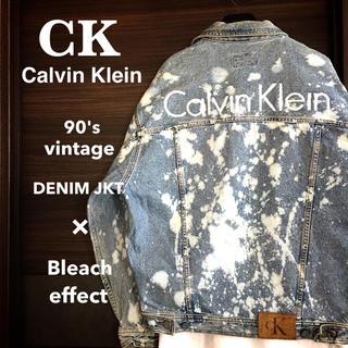 カルバンクライン(Calvin Klein)の【激レア1点物】Calvin klein ブリーチ & バックロゴ デニムJKT(Gジャン/デニムジャケット)
