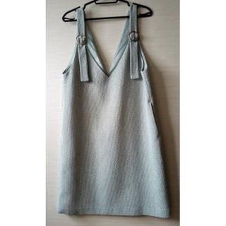 クチュールブローチ サロペットスカート ツイードスカート ワンピース(ひざ丈ワンピース)