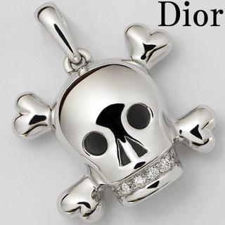 ディオール(Dior)のディオール ドクロ スカル ダイヤ ペンダント トップ K18WG メンズ(ネックレス)
