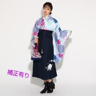 ピンクラテ(PINK-latte)の今期 ピンクラテ 袴 小学生 140~150cm  水色⭐️補正有り⭐️髪飾り付(和服/着物)