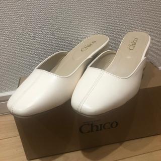フーズフーチコ(who's who Chico)のwho's who chico スクエアミュール アイボリー Sサイズ 箱付き(ミュール)