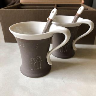 ORIBE 小鳥のカップ&ソーサー 2脚セット(グラス/カップ)