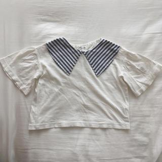 ストライプ 襟付き ペルスリーブ 90 Tシャツ(Tシャツ/カットソー)